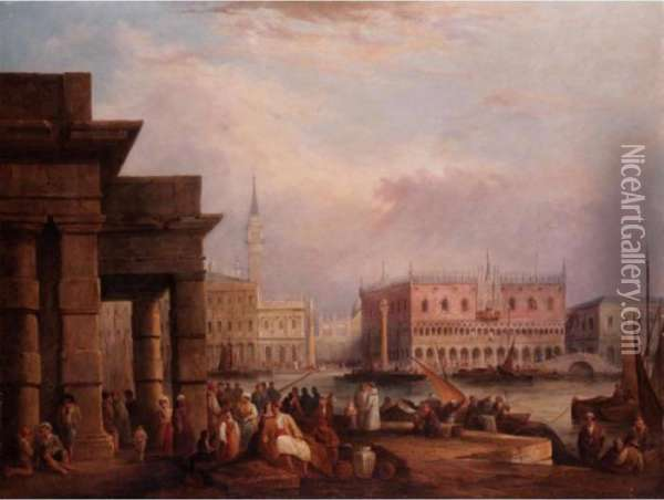 The Doges Palace, Venice From The Dogana Oil Painting - Edward Pritchett