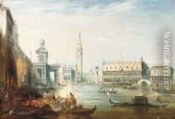The Grand Canal And The Doges Palace With Figures On The Quay Inthe Foreground Oil Painting - Edward Pritchett