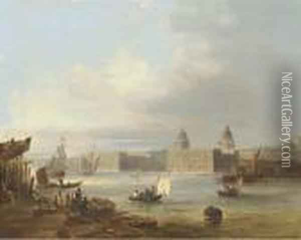 The Royal Naval College, Greenwich, From The Thames, The Royalobservatory Beyond Oil Painting - Edward Pritchett