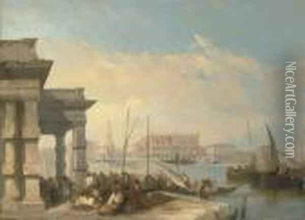 View Of The Piazetta From The Dogana, Venice Oil Painting - Edward Pritchett