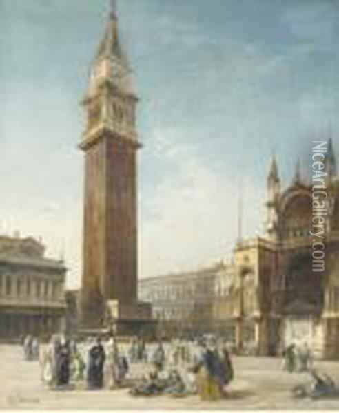 St. Mark's Square, Venice Oil Painting - Edward Pritchett