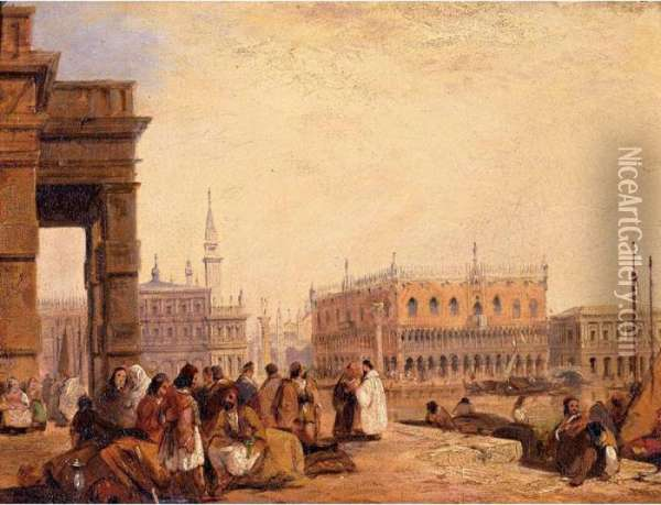 View Of The Doge's Palace From The Dogana, Venice Oil Painting - Edward Pritchett