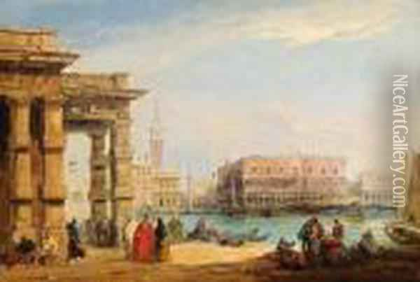 View Across The Grand Canal From The Old Customs House Oil Painting - Edward Pritchett
