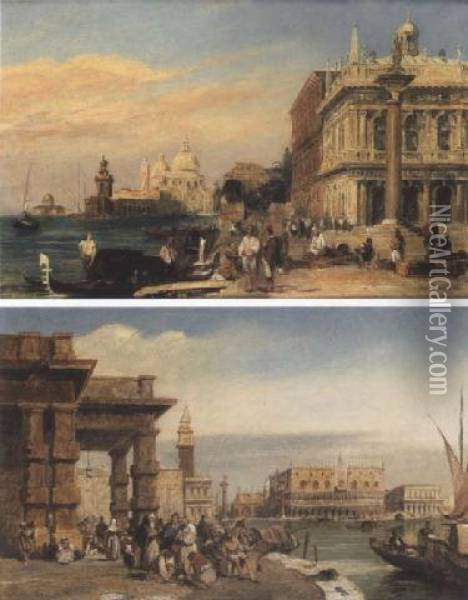 The Dogana And Santa Maria Della  Salute From The Piazzetta St Marco, Venice; The Doge's Palace From The  Dogana, Venice Oil Painting - Edward Pritchett