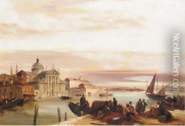 View Of The Church Of San Georgio Maggiore Oil Painting - Edward Pritchett