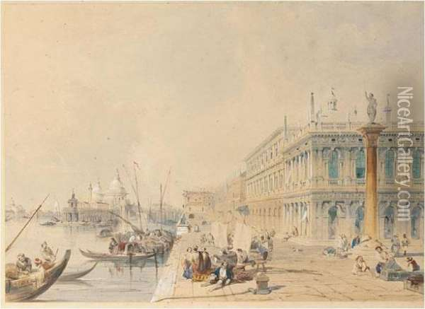 Venice From The Doges Palace Oil Painting - Edward Pritchett
