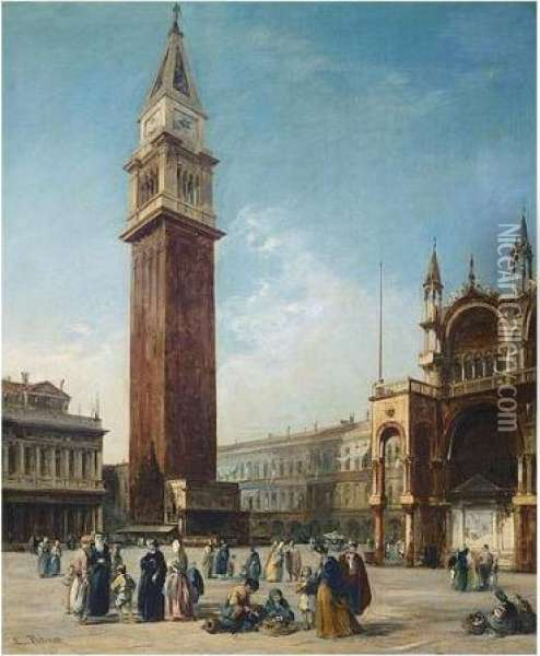 The Campanile, St. Marks Square Oil Painting - Edward Pritchett