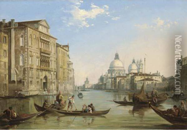 The Grand Canal, Venice, Looking Towards The Church Of San Salute And The Dogana Oil Painting - Edward Pritchett