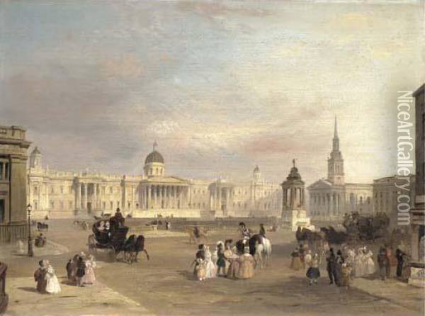 Trafalgar Square Oil Painting - Edward Pritchett