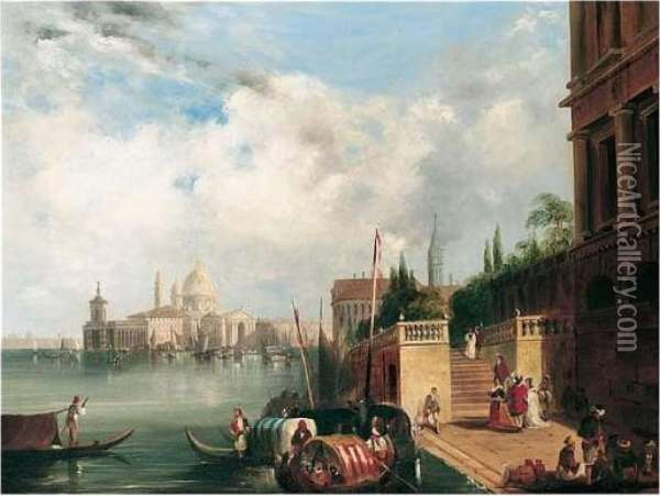 View Of Santa Maria Della Salute And The Dogana From The Mint, Venice Oil Painting - Edward Pritchett