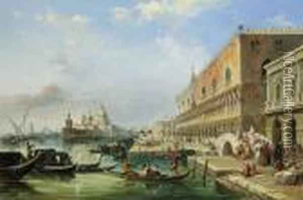 The Bacino, Venice, Looking  Towards The Grand Canal, With Thedogana, The Salute, The Piazetta And  The Doges Palace Oil Painting - Edward Pritchett