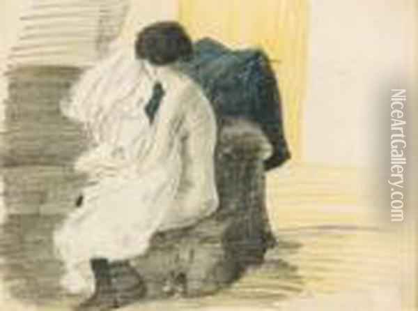 Nue Assis Oil Painting - Theophile Alexandre Steinlen