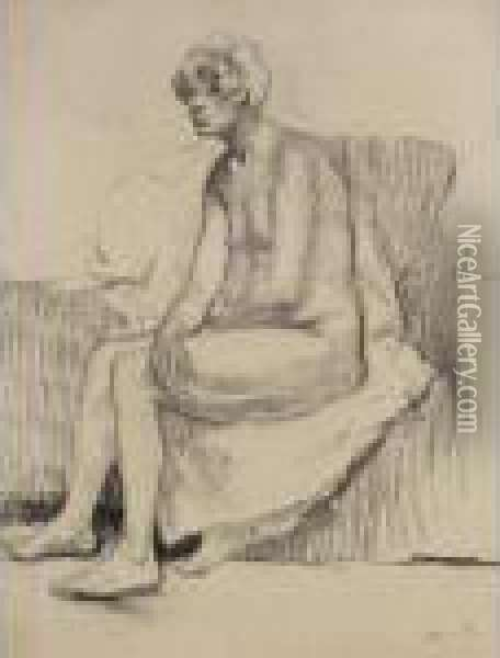 Seated Nude Oil Painting - Theophile Alexandre Steinlen
