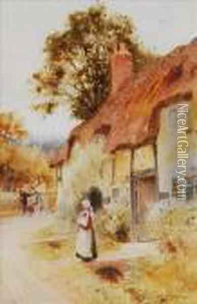 After Theday's Toil Is O'er Oil Painting - Arthur Claude Strachan