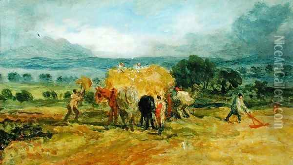A Harvest Scene with Workers loading Hay on to a Farm Wagon Oil Painting - James Ward
