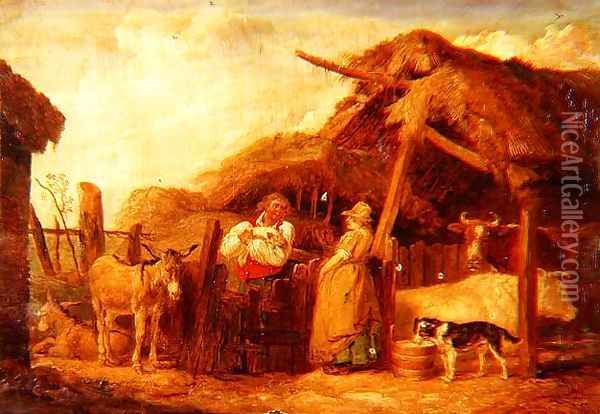 A farmer and his wife with cows, donkeys and animals by a barn in a farmyard Oil Painting - James Ward