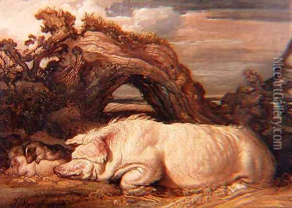 A Sow and Piglets Under a Tree, 1809 Oil Painting - James Ward