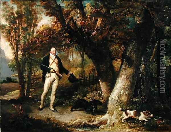 Portrait of the Rev. Thomas Levett and Favourite Dogs, Cock-Shooting, 1811 Oil Painting - James Ward