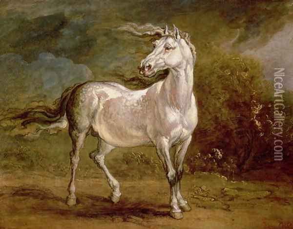 A Grey Charger in a Landscape Oil Painting - James Ward