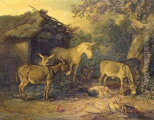 Donkeys, horse and pigs by a barn in a farmyard Oil Painting - James Ward