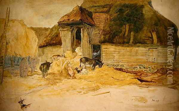 Animals Before a Thatched Barn Oil Painting - James Ward