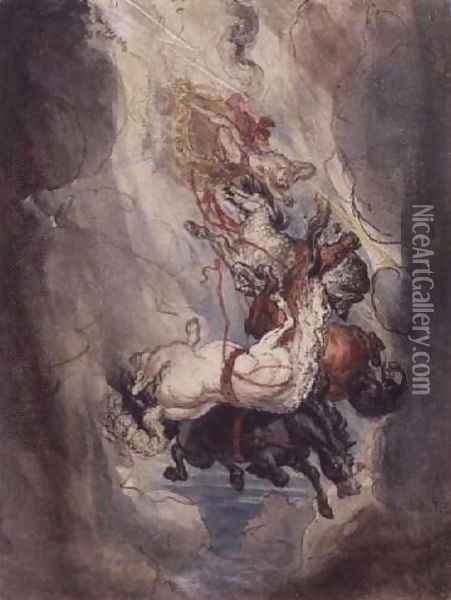 Study for the Fall of Phaethon, c.1808 Oil Painting - James Ward