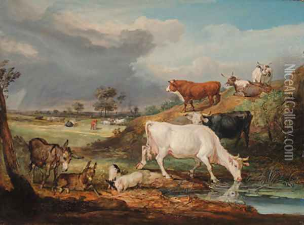 Cattle, Donkeys and Pigs by a Pool Oil Painting - James Ward