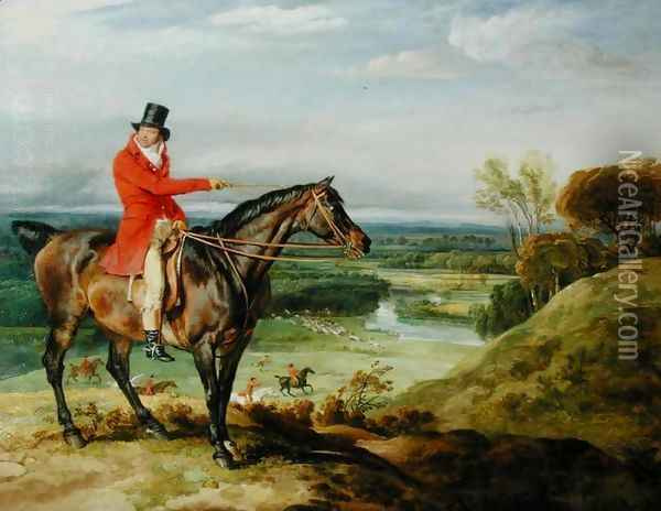 John Levett hunting in the Park at Wychnor, Staffordshire, 1814-18 Oil Painting - James Ward