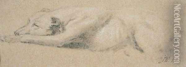 Study of a Sleeping Dog Oil Painting - James Ward