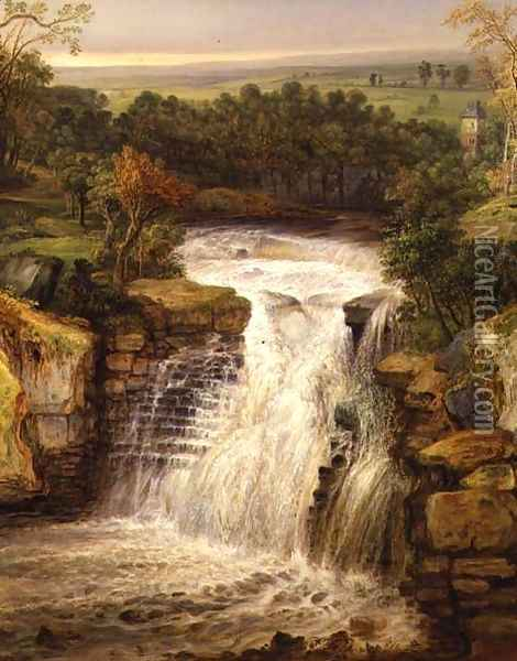 The Falls of the Clyde after a Flood Oil Painting - James Ward