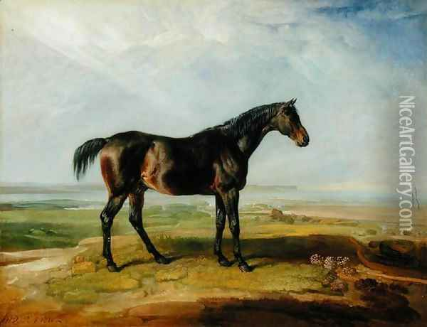 Dr. Syntax, a bay racehorse, standing in a coastal landscape, an estuary beyond Oil Painting - James Ward