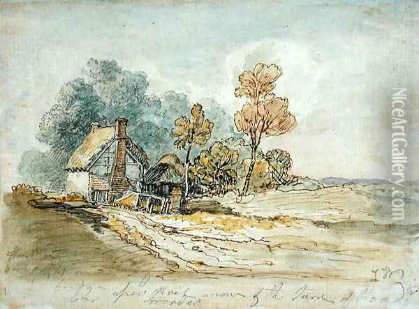 A Thatched Cottage and Trees at the Turn of a Country Road Oil Painting - James Ward