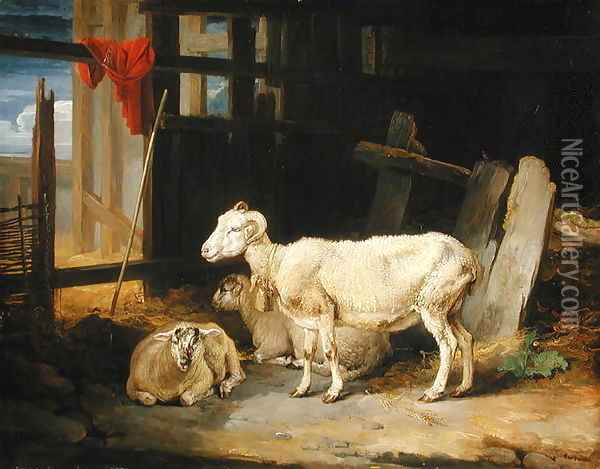 Heath Ewe and Lambs, 1810 Oil Painting - James Ward