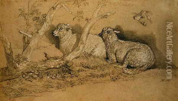 Sheep Resting in a Wooded Copse and a Study of the Head of a Sheep Oil Painting - James Ward