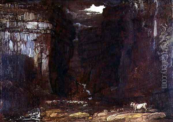 Study for Gordale Scar, c.1811-13 Oil Painting - James Ward