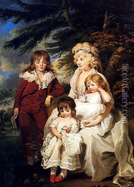 Portrait Of The Hon. Juliana Talbot, Mrs Michael Bryan (1759-1801), With Her Children Henry, Maria And Elizabeth Oil Painting - James Ward