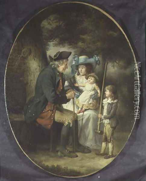 Family in a Landscape Oil Painting - James Ward