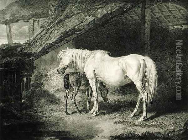 Primrose and Foal, from Celebrated Horses, a set of fourteen racing prints published by the artist, 1823-24 Oil Painting - James Ward