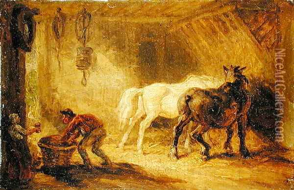 Interior of a Stable, c.1830-40 Oil Painting - James Ward