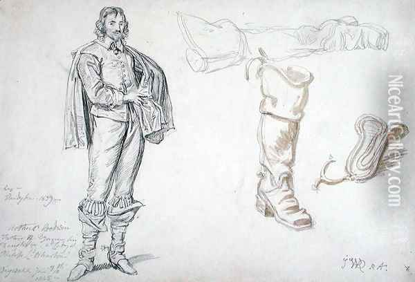 Studies of a Standing Figure, and a Boot, 1825 Oil Painting - James Ward
