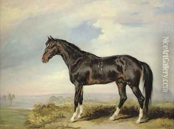 A Dongola stallion from Nubia, in an Egyptian landscape with pyramids Oil Painting - James Ward
