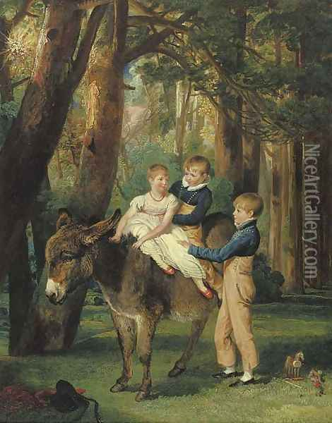 Group Portrait of John, Theophilus and Frances Levett Oil Painting - James Ward