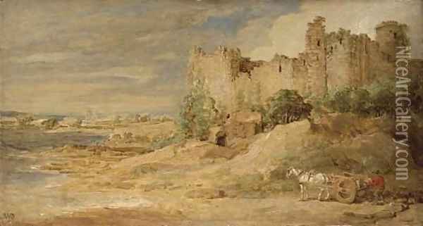 A castle by the sea, possibly Manorbier Castle, Pembrokeshire Oil Painting - James Ward