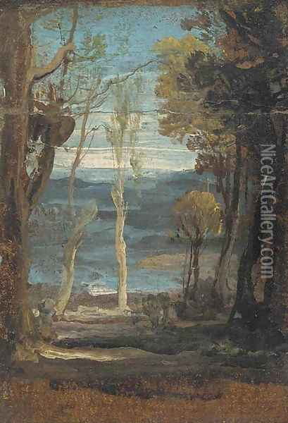 A wooded landscape Oil Painting - James Ward