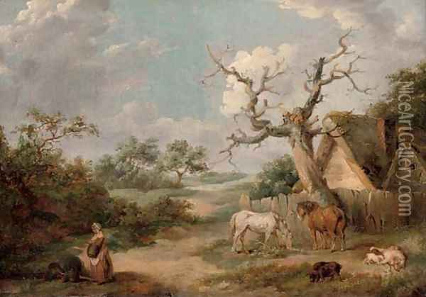 A wooded landscape with figures in the foreground and horses and pigs by a cottage Oil Painting - James Ward