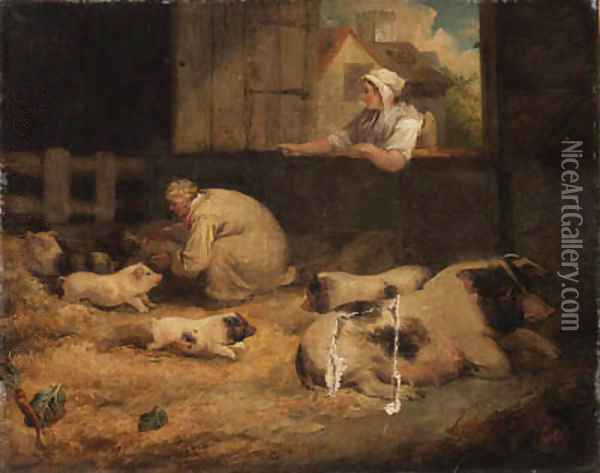 Tending the piglets Oil Painting - James Ward