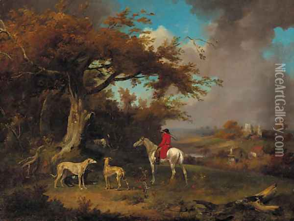 A huntsman and hounds on the edge of a wood Oil Painting - James Ward