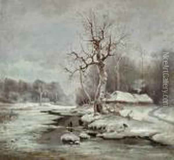 River Landscape In The Winter. Oil Painting - Iulii Iul'evich (Julius) Klever