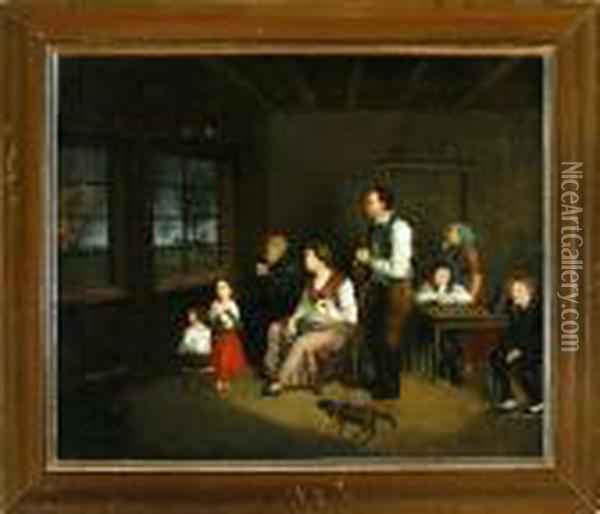 An Interior From The  Frisian-german Island Fohr With A Praying Family Watching A Fire Through  The Window Oil Painting - Sir David Wilkie