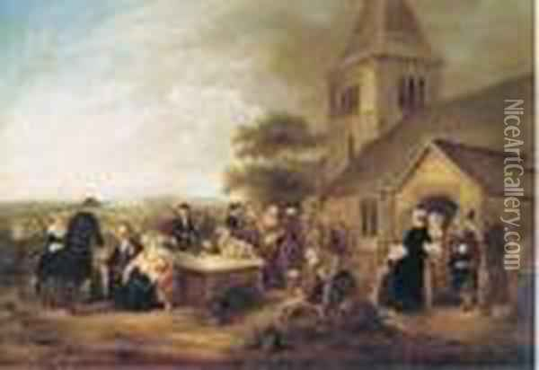 Figures Gathered Outside A Church Oil Painting - Sir David Wilkie